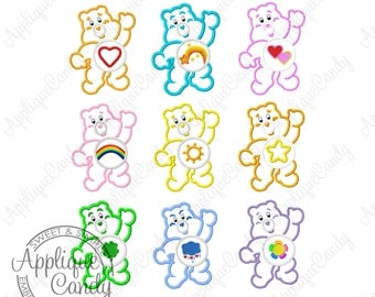 Bears Set Applique Machine Embroidery Designs 4x4 5x7 6x10 Care Luck Grumpy Harmony Love Cheer Funshine Tender Heart Laugh INSTANT DOWNLOAD
