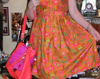 Vintage 1950's coral coloured paisley printed Madmen style bombshell dress by Marcia June of Sydney SIZE: MEDIUM and ft. matching belt