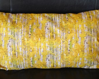 Cushion cover, landscape, forest of birch trees in autumn, gold and grey