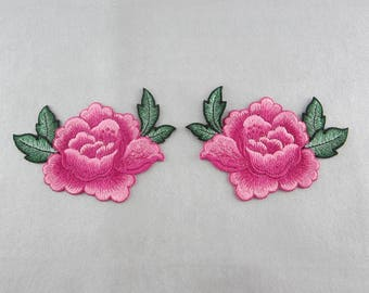 Embroidery Patches Flower Appliques Pink Floral Patches