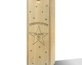 Personalised Hollywood Star Wooden Wine Box