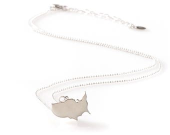 Silver United States Charm Necklace