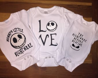 Nightmare Before Christmas Jack Skeleton embrodiery shirts or infant bodysuit set.