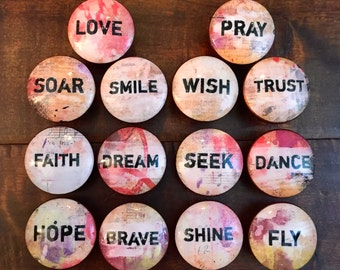 1.5 inch inspirational words cabinet knobs drawer pulls bronze pink cream black brown
