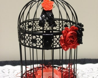 Red and Black Bird Cage, Decorative Bird Cage, Black Bird Cage, Home Decor, Red and Black, Valentine Decor, Shabby Chic, Rocker Decor