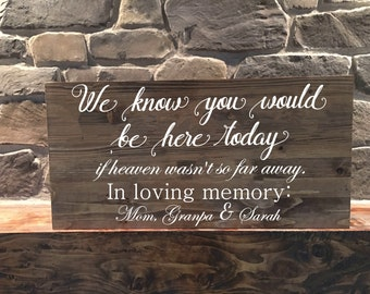 Wedding Sign//Memorial Sign//Wood sign//Rustic Wedding Memorial Sign//If Heaven Wasn't So Far Away