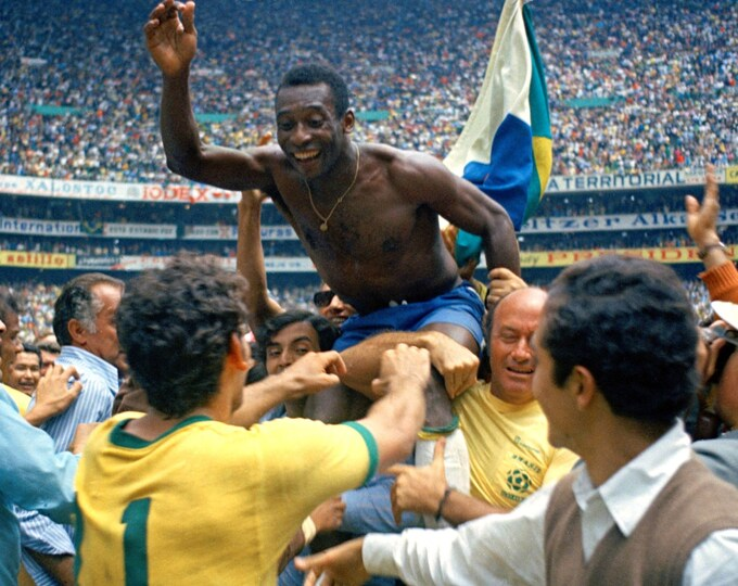 Pele After Brazil Victory Over England in 1970 World Cup - 5X7, 8X10 or 11X14 Sports Photo (EE-053)