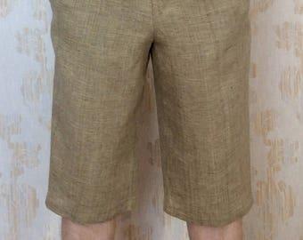 Mens linen Shorts/comfortable linen Shorts/Mens Linen Pajama Home Shorts/Soft 100% Linen/2 side pockets/elasticised waist/beach linen shorts