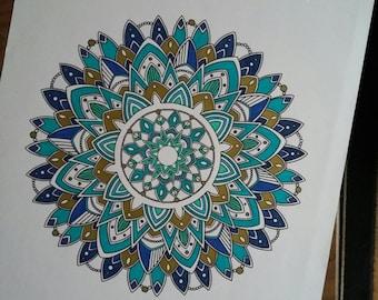 Blue 50x65cm Mandala drawing, mandala art mandala drawing handmade