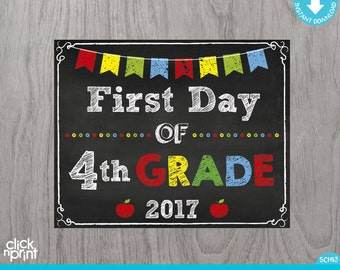 First Day of Fourth Grade Sign Instant Download Print Yourself, First Day of 4th Grade Chalkboard Sign, Printable Back to School Sign