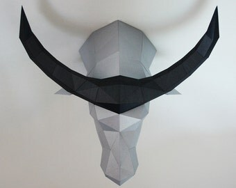 BeThe waterbuffalo head Low poly statues PDF for Paper craft. Make your own with this simple Wall decor