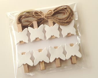 Butterfly clothespins, mini clothespins, decorated clothespin, wooden mini pegs, butterfly pegs, butterfly pins, decorated pins, wooden pins