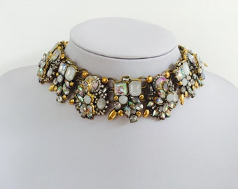 Statement necklace with white and clear rhinestones - DISCOUNT CODE INSIDE