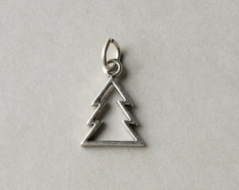Sterling Silver Christmas Tree Charm, Silver Tree Pendant, Holiday Jewelry Component, Nature Jewellery Charm,