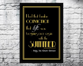 The Great Gatsby Quote A4 Print, Wall Art, 1920's. FREE shipping to UK.