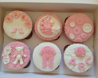 Cupcakes: BeautIful Hand Decorated Baby Shower Cupcakes With A Jam & Buttercream filling