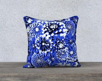 Blue Bouquet Pillow Cover