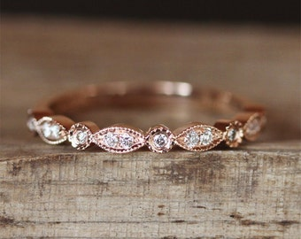 Stackable Wedding Band Half Eternity Diamonds Ring Milgrain Bezel Ring Match Ring 14K Rose Gold Ring Art Deco Wedding Ring Bridal Band