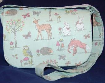 Woodland Animals Fox Rabbit Hedgehog Messenger Bag Handmade Handbag Green
