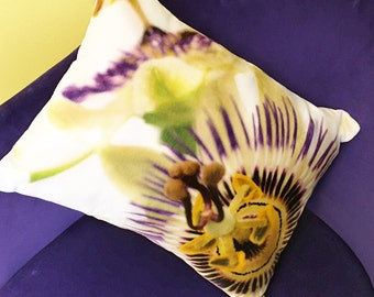 Luxury cotton velvet passion flower cushion, 39cm x 30cm.