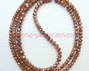 "RARE Natural Brown Diamond Rondelles, Brown Diamond Faceted Rondelle Beads, 2-3.30 MM, 7.50"" Strand, Loose Gemstone Roundel Beads"