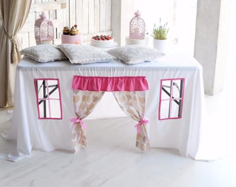 Girls birthday party decorations/ Tablecloth Playhouse/ Christening table decor/ Pink and White/ Play room/ Birthday Tablecloth/ Kids fort