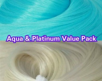 Rubio platino blanco y Aqua azul 2 madejas 4 oz Reroot muñeca pelo de Nylon valor Pak para monstruo personalizado alta, siempre después, Barbie, My Little Pony