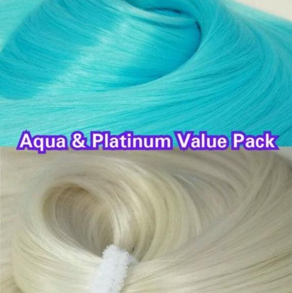 White Platinum Blonde & Aqua Blue 2 Hanks 4 oz Nylon Reroot Doll Hair Value Pak for Custom Monster High, Ever After, Barbie, My Little Pony