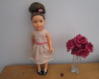 """18"""" Dolls Clothes - Taupe Flower Dress"""