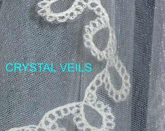 """Bridal Veil """"Medallion Lace"""" - Victorian pattern - Cornely embroidered lace - Shoulder length."""