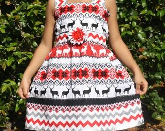 Baby Girls Red Dress,Girls Reindeer Dress,Girls Red And White Dress,Girls Summer Dress,Toddler Dress