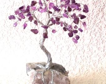 Free shipping!  , 1 gem tree, 17 cm, wire tree, gem tree, Amethyst gemstone wire sculpture, purple druzy