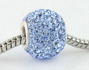 Light Blue Czech Crystal Charm Bead, 925 Sterling Silver, fits Pandora Bracelets or Any Chain