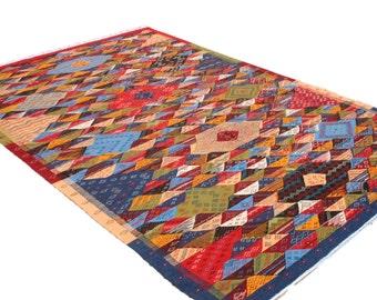 Large Kids Rug 7x10, Colorful Childrens Rug, Multicolor Playroom Rug, Geometric Kids Room Area Rug Red Blue Green, Natural Wool Girls Carpet