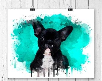 French Bulldog #2 Watercolor Fine Art Print, Poster, Wall Art, Home Decor, Kids Wall Art, Play Room Wall Art, Wall Decor