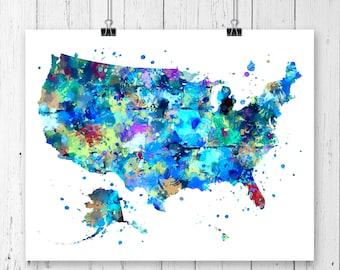 US Watercolor Map 1 Art Print, USA Map, Poster, Wall Art, Contemporary Art, Modern Wall Decor, Office Decor