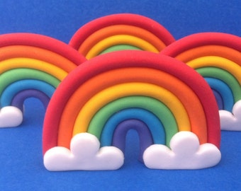 12 edible 3d RAINBOW cupcake toppers. Cake decorations. Gifts for kids.