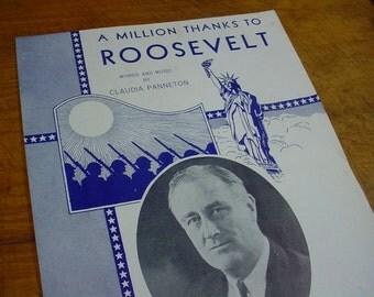 Sheet Music A Million Thanks To Roosevelt Political Music Sheet Antique Vintage Original