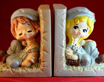 Sears Roebuck Country Boy and Girl Bookends Nursery Bookends, Ceramic Bookends, Bookends For Kids, Country Bookends, Nursery Decor