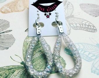 Stardust grey/gray tear drop earrings (small)