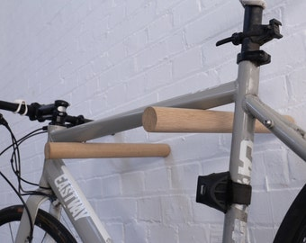 Bike Rack / Minimalist / Solid Oak Dowel/ Bike Hooks / Bike Accessories/ Bike Mount / Ash / Walnut