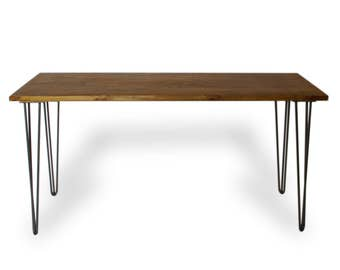 Hairpin Legs Writing desk with Walnut finish, reclaimed wood style