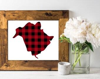 New Brunswick Buffalo Plaid -  8x10 New Brunswick print, Canada, New Brunswick print, lumberjack print, 8x10 printable art, buffalo plaid