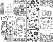8 Printable Bible Verse Coloring Bookmarks for Kids; Scripture Coloring Bookmarks for Bible Camps; Digital Downloads