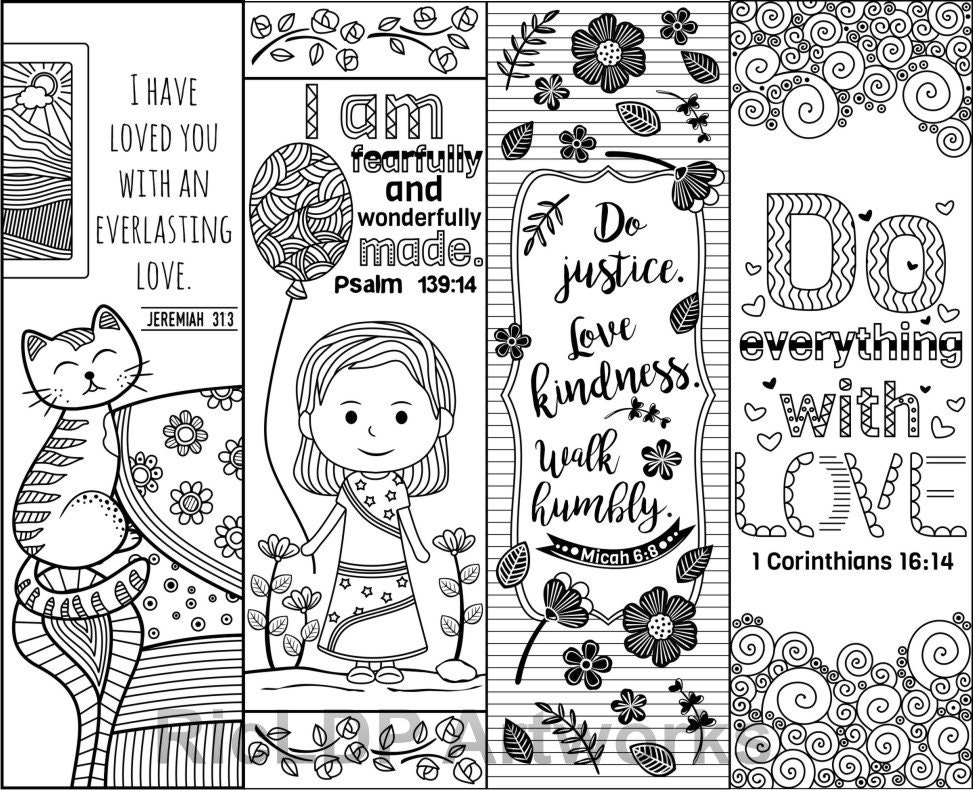 This is a photo of Adorable Free Printable Bible Verse Bookmarks to Color
