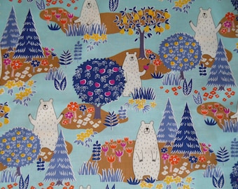 Cotton fabric Cosmo Forest Delight Bears forest trees woodland Pine trees fruit trees Blue cream orange yellow quilt weight