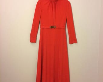 Red jersey knit 1970s maxi dress