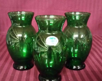 Anchor hocking forest green vases. Set of 3. Perfect condition.