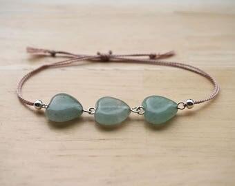 Aventurine Bracelet, Silk Gemstone Bracelet, Aventurine Jewelry, Gemstone Jewelry, Green Gemstone Bracelet,
