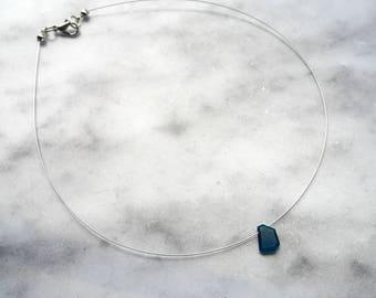 Apatite Slice Necklace, Gemstone Necklace, Slice Necklace, Gemstone Slice Necklace, Apatite Necklace, Blue Necklace